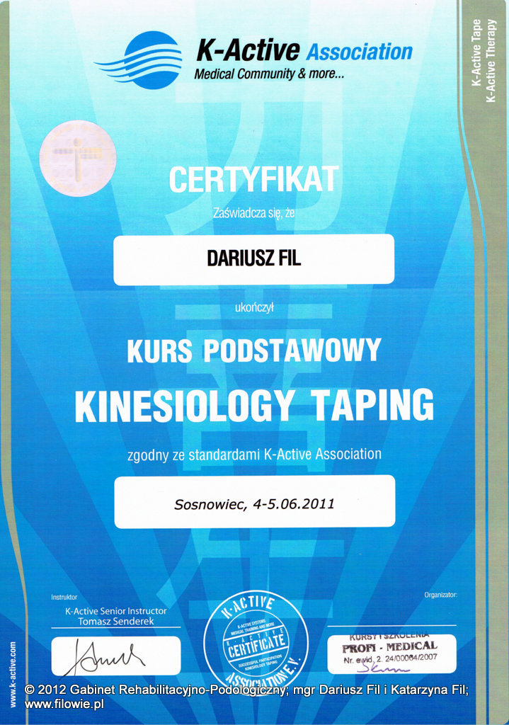 Dariusz Fil - Certyfikat, Kinesiology Taping