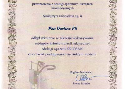Dariusz Fil - Certyfikat, Kriostymulacja, krioterapia