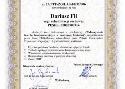 Darek-certyfikat-laser-biostymulujący