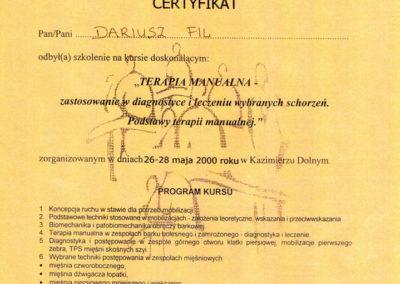 Dariusz Fil - Dyplom, podstawy terapii manualnej