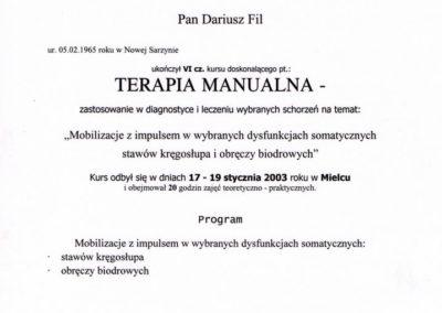 Dariusz Fil - Dyplom, terapia manualna - dysfunkcje somatyczne