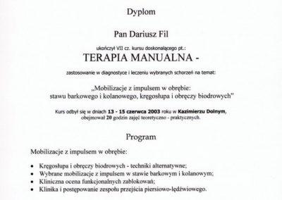 Dariusz Fil - Dyplom, terapia manualna - mobilizacja z impulsem
