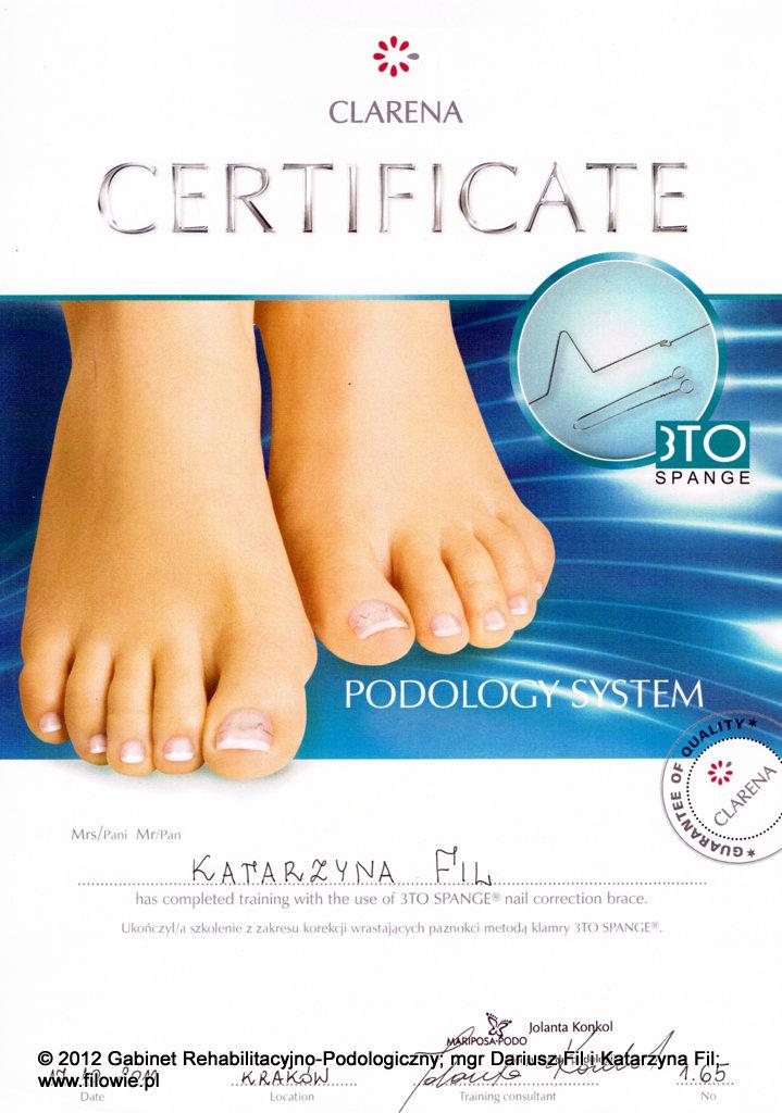 Katarzyna Fil - Certyfikat, klamry korygujące na wrastające paznokcie