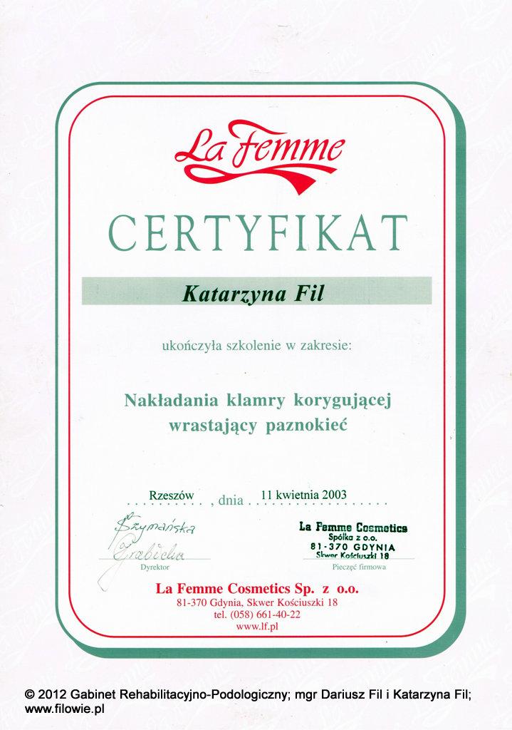 Katarzyna Fil - Certyfikat, klamry korygujące wrastające paznokcie
