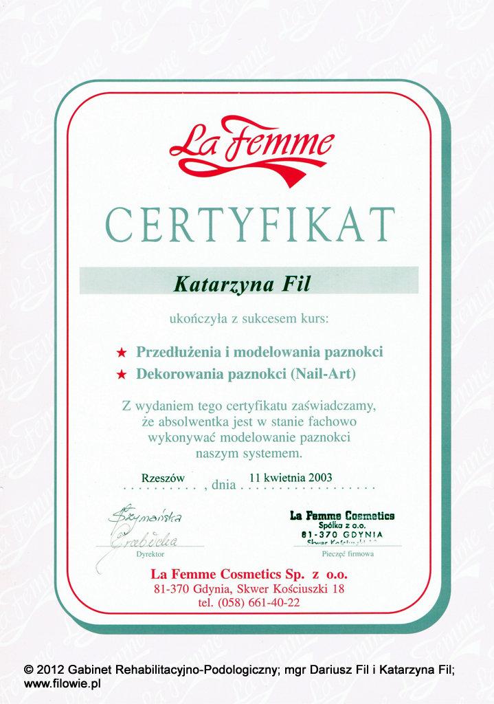 Katarzyna Fil - Certyfikat, przedłużanie i modelowanie paznokci, tipsy