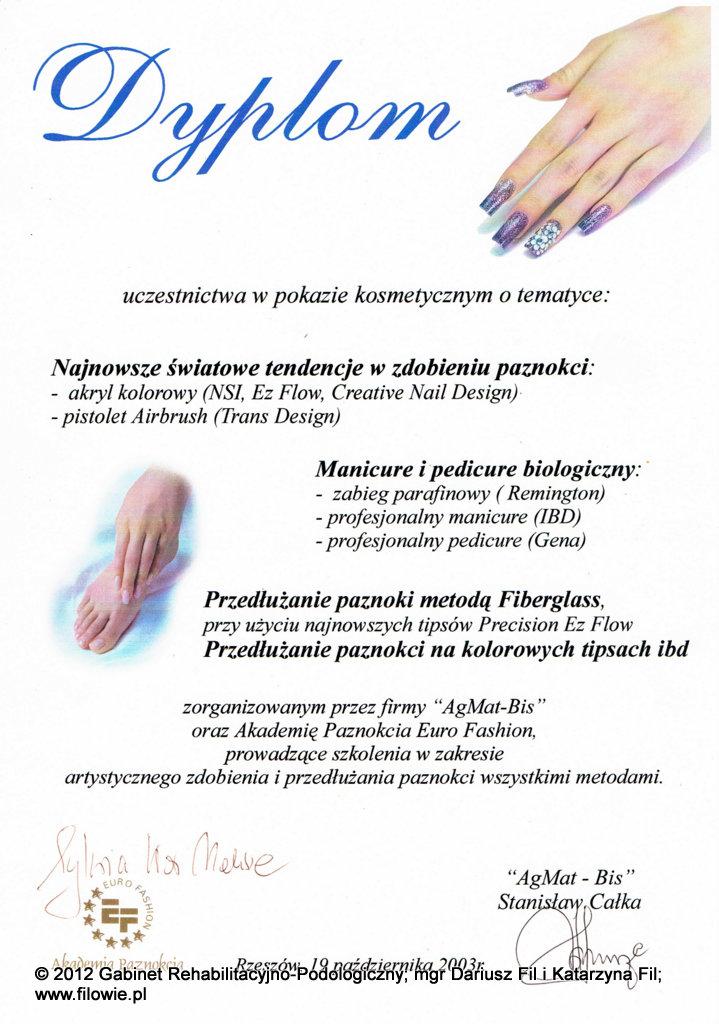 Katarzyna Fil - Dyplom, manicure i pedicure biologiczny, tipsy IDB
